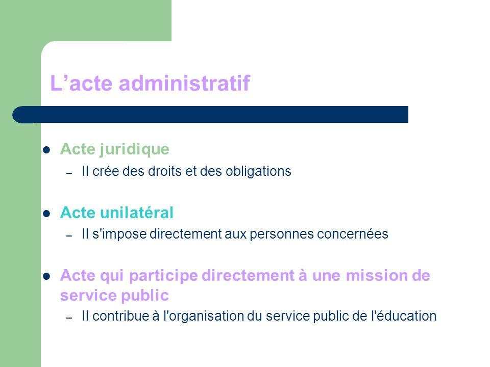 Lacte administratif Acte juridique – Il crée des droits et des obligations Acte unilatéral – Il s impose directement aux personnes concernées Acte qui participe directement à une mission de service public – Il contribue à l organisation du service public de l éducation