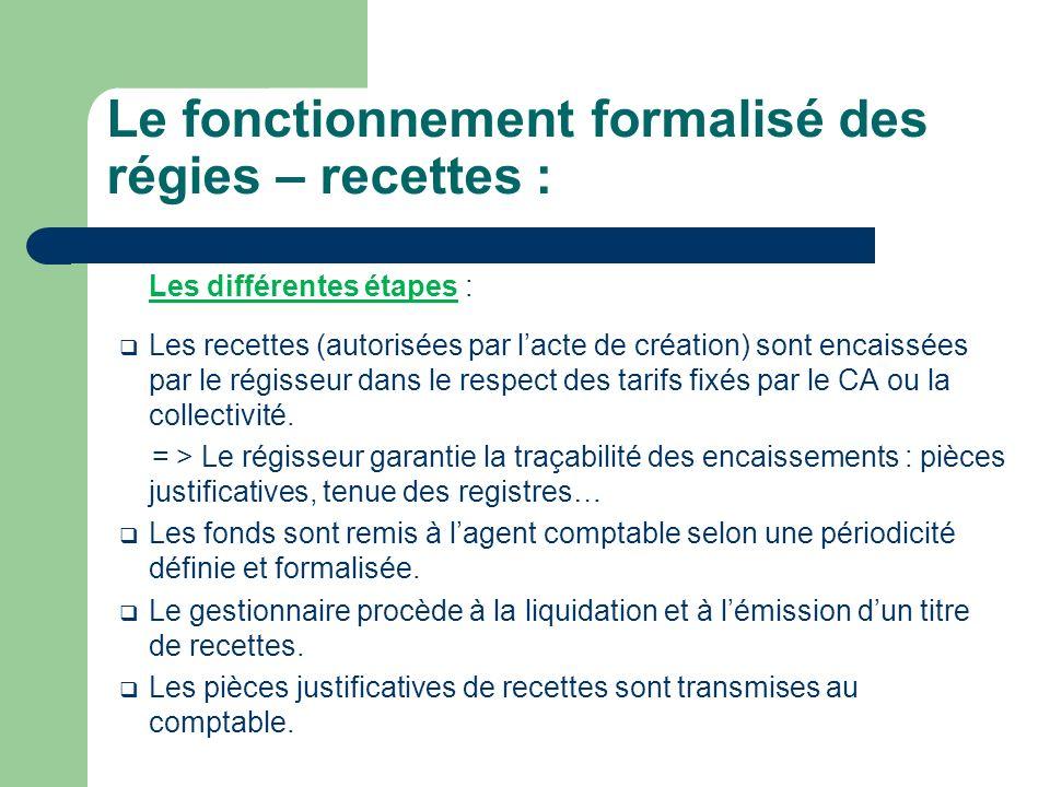 Les différentes étapes : Les recettes (autorisées par lacte de création) sont encaissées par le régisseur dans le respect des tarifs fixés par le CA ou la collectivité.