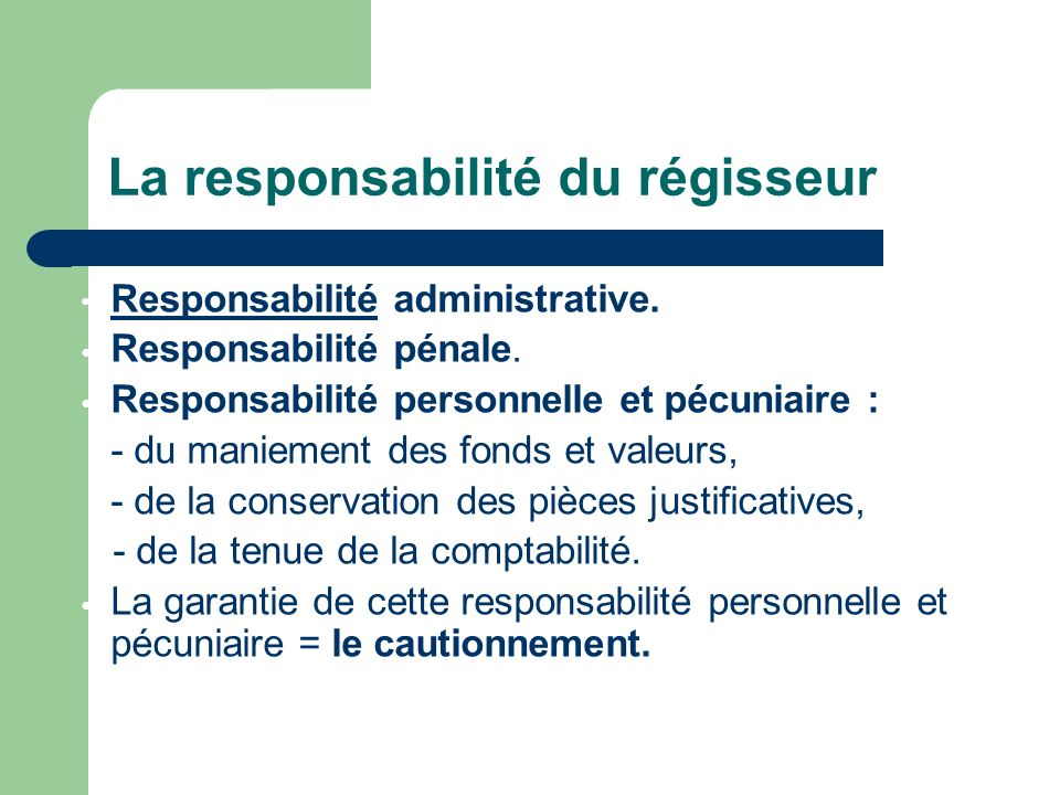 Responsabilité administrative.Responsabilité Responsabilité pénale.
