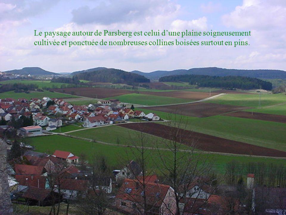 Le paysage autour de Parsberg est celui dune plaine soigneusement cultivée et ponctuée de nombreuses collines boisées surtout en pins.