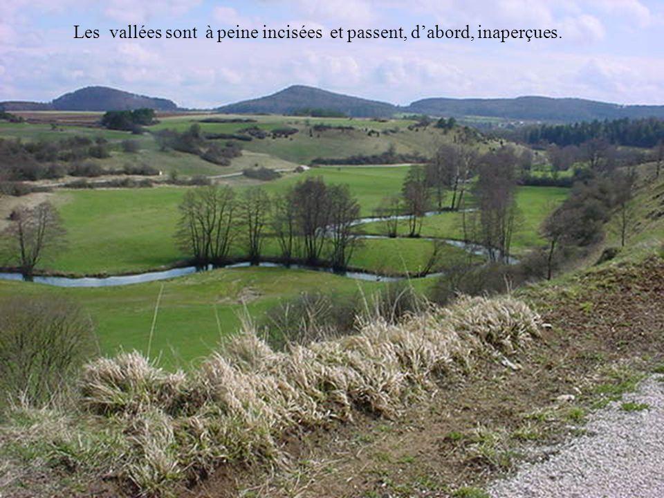 Les vallées sont à peine incisées et passent, dabord, inaperçues.