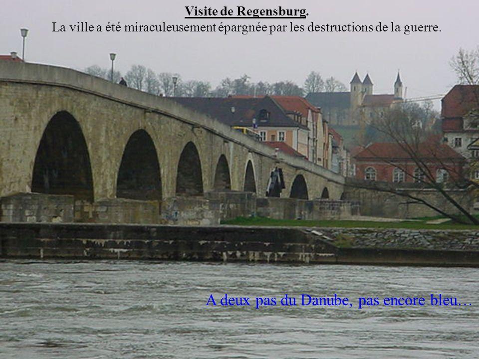 Visite de Regensburg. La ville a été miraculeusement épargnée par les destructions de la guerre. A deux pas du Danube, pas encore bleu…