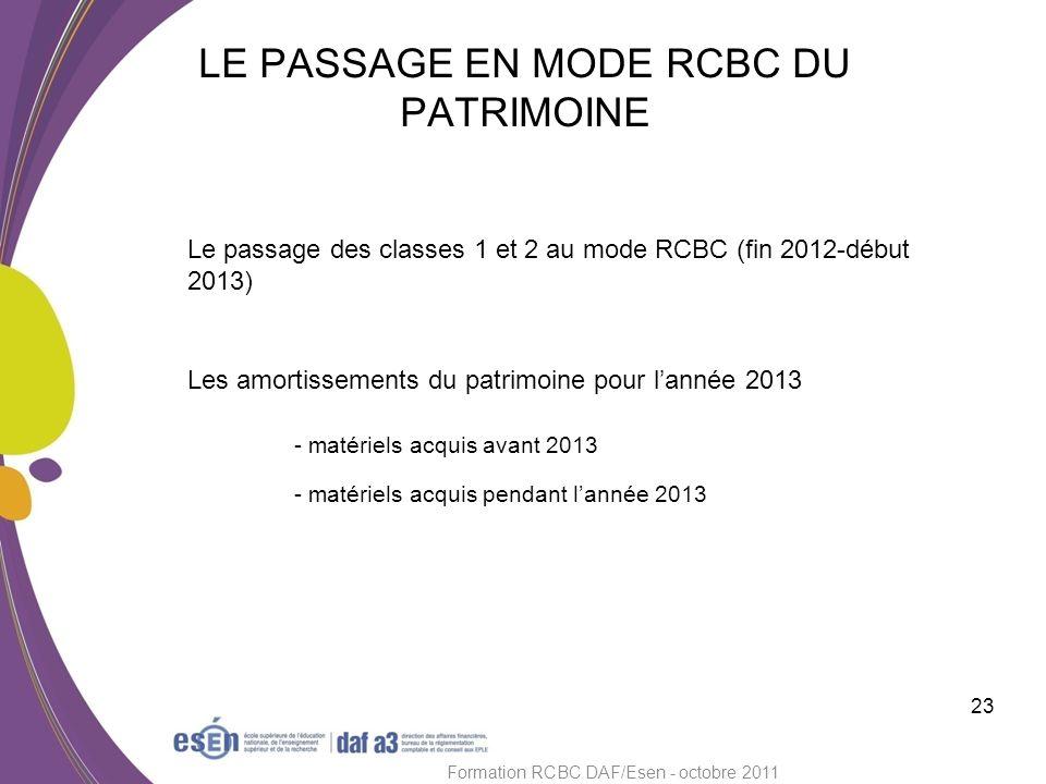 LE PASSAGE EN MODE RCBC DU PATRIMOINE 23 Formation RCBC DAF/Esen - octobre 2011 Le passage des classes 1 et 2 au mode RCBC (fin 2012-début 2013) Les a