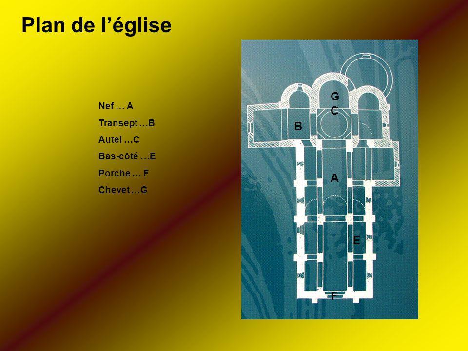 Nef … A Transept …B Autel …C Bas-côté …E Porche … F Chevet …G A B GCGC E F Plan de léglise