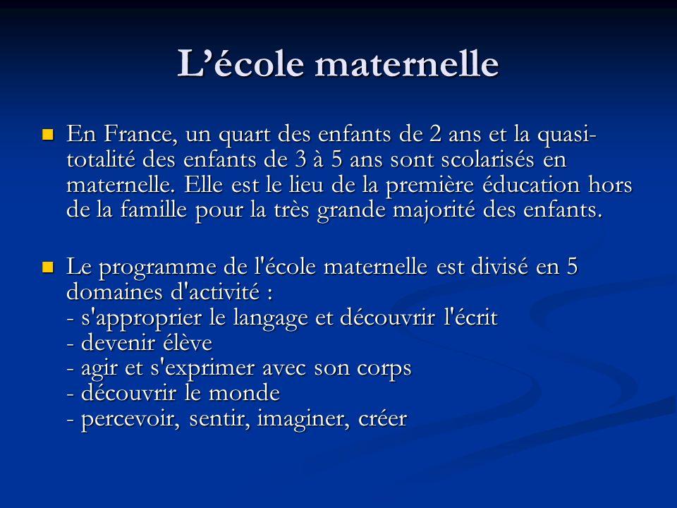Lécole maternelle En France, un quart des enfants de 2 ans et la quasi- totalité des enfants de 3 à 5 ans sont scolarisés en maternelle. Elle est le l