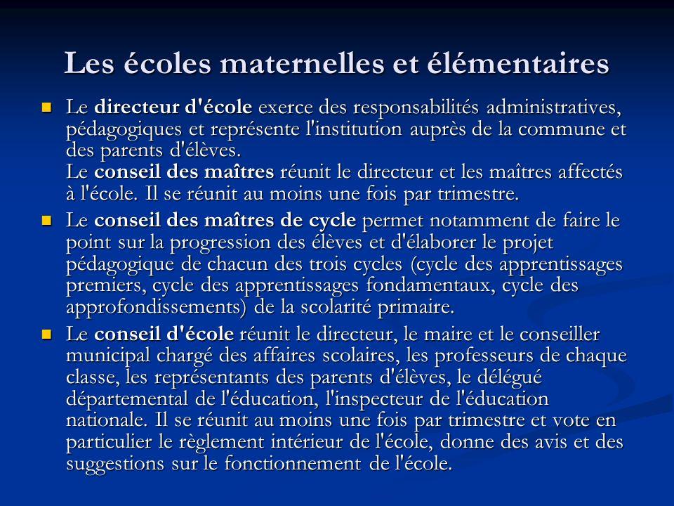 Les écoles maternelles et élémentaires Le directeur d'école exerce des responsabilités administratives, pédagogiques et représente l'institution auprè