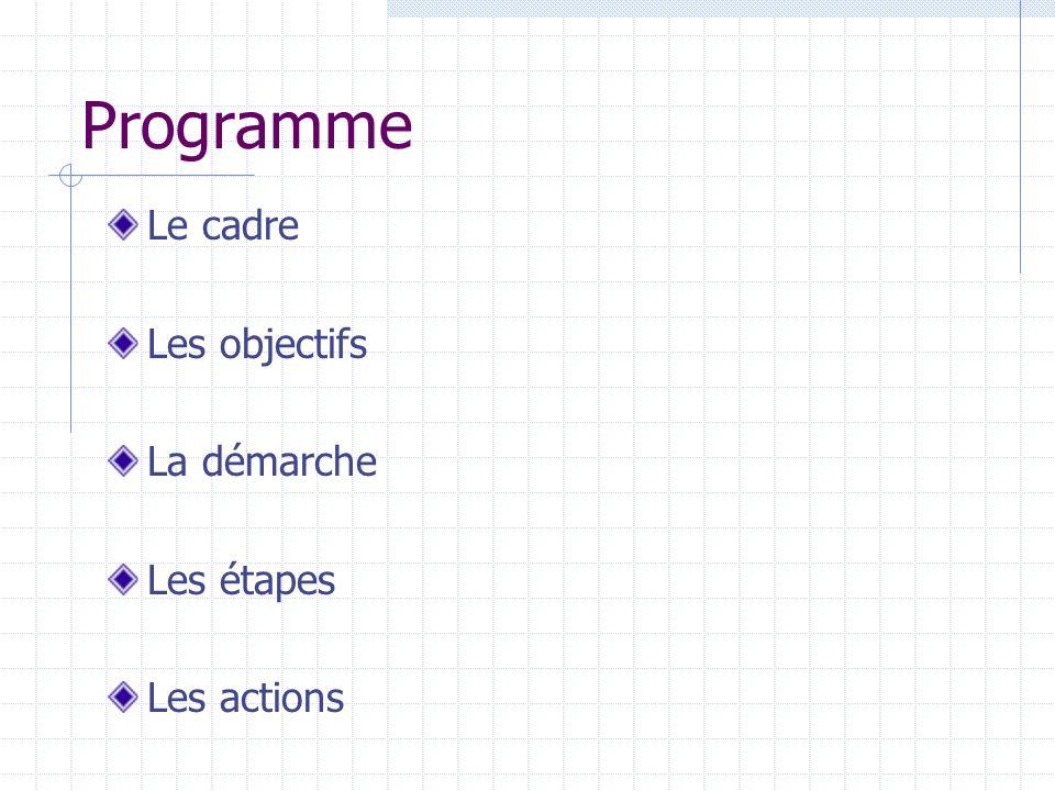 Programme Le cadre Les objectifs La démarche Les étapes Les actions