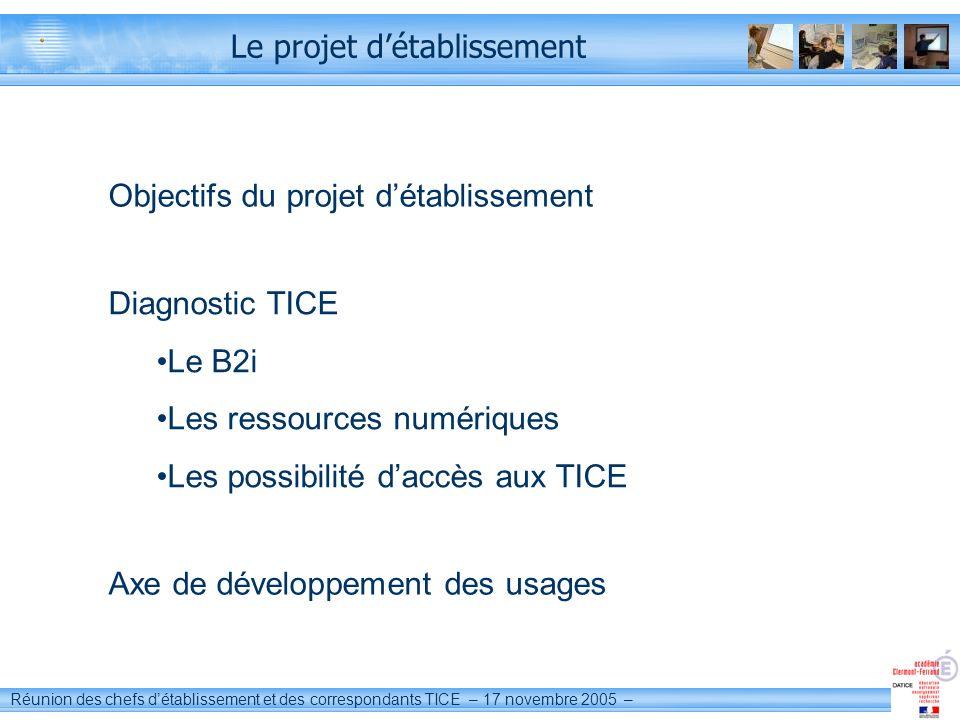 Réunion des chefs détablissement et des correspondants TICE – 17 novembre 2005 – Le projet détablissement Objectifs du projet détablissement Diagnosti
