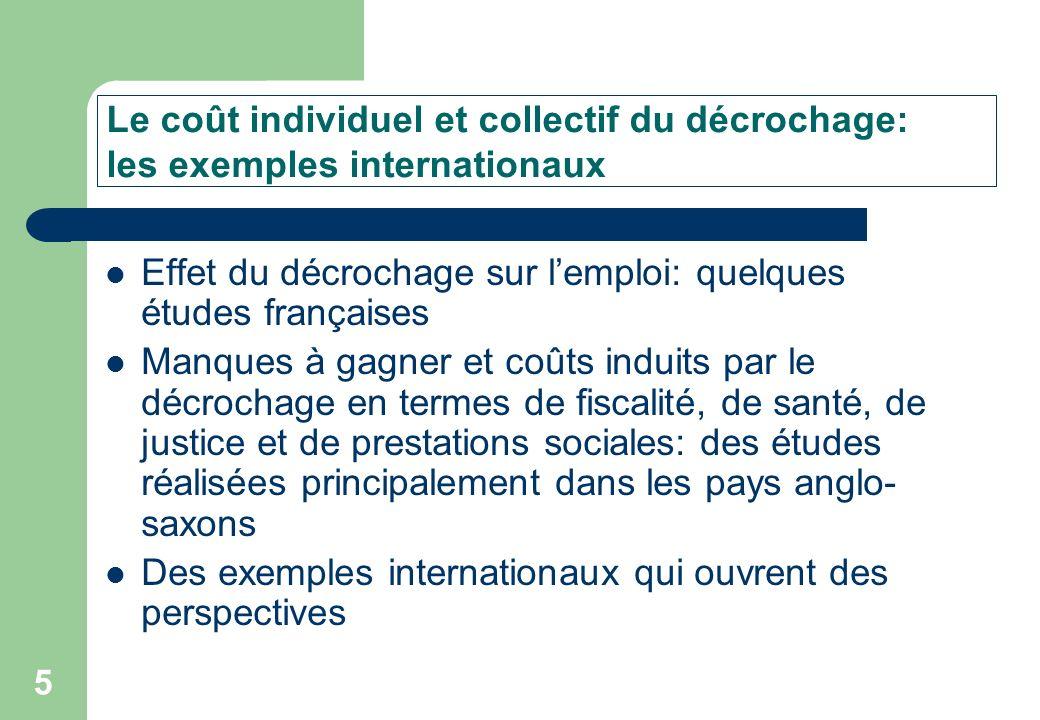 5 Effet du décrochage sur lemploi: quelques études françaises Manques à gagner et coûts induits par le décrochage en termes de fiscalité, de santé, de