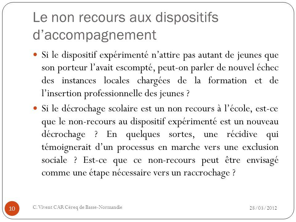 Le non recours aux dispositifs daccompagnement 28/03/2012 C. Vivent CAR Céreq de Basse-Normandie 10 Si le dispositif expérimenté nattire pas autant de