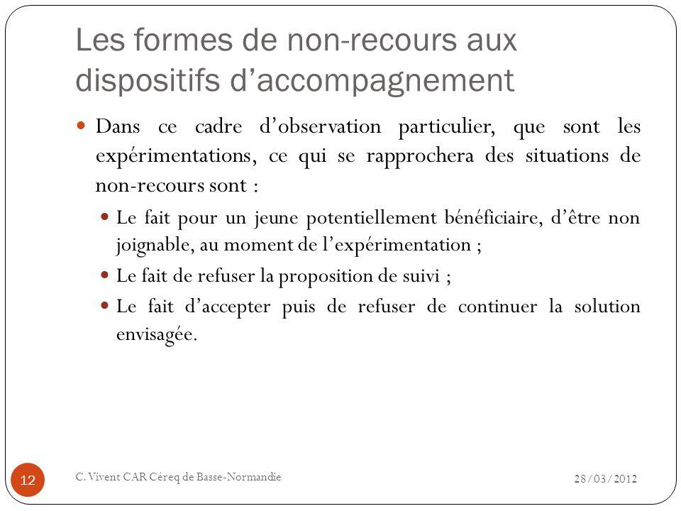 Les formes de non-recours aux dispositifs daccompagnement 28/03/2012 C. Vivent CAR Céreq de Basse-Normandie 12 Dans ce cadre dobservation particulier,