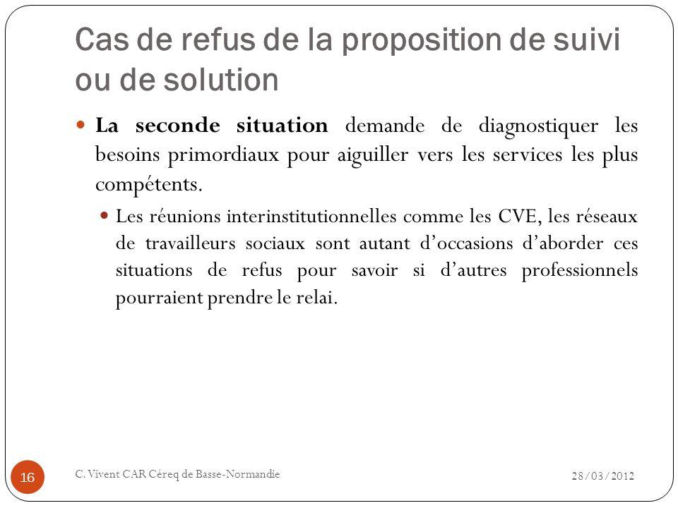 Cas de refus de la proposition de suivi ou de solution 28/03/2012 C. Vivent CAR Céreq de Basse-Normandie 16 La seconde situation demande de diagnostiq
