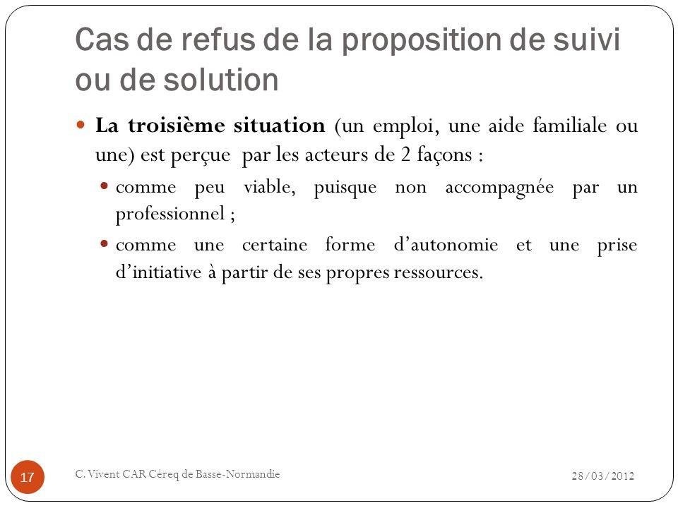 Cas de refus de la proposition de suivi ou de solution 28/03/2012 C. Vivent CAR Céreq de Basse-Normandie 17 La troisième situation (un emploi, une aid