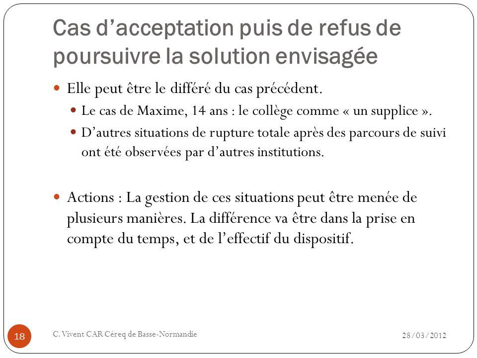 Cas dacceptation puis de refus de poursuivre la solution envisagée 28/03/2012 C. Vivent CAR Céreq de Basse-Normandie 18 Elle peut être le différé du c