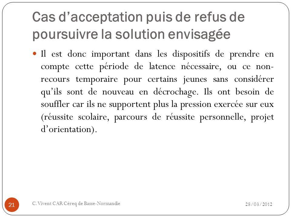 Cas dacceptation puis de refus de poursuivre la solution envisagée 28/03/2012 C. Vivent CAR Céreq de Basse-Normandie 21 Il est donc important dans les