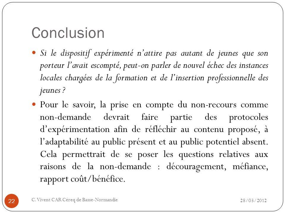 Conclusion 28/03/2012 C. Vivent CAR Céreq de Basse-Normandie 22 Si le dispositif expérimenté nattire pas autant de jeunes que son porteur lavait escom