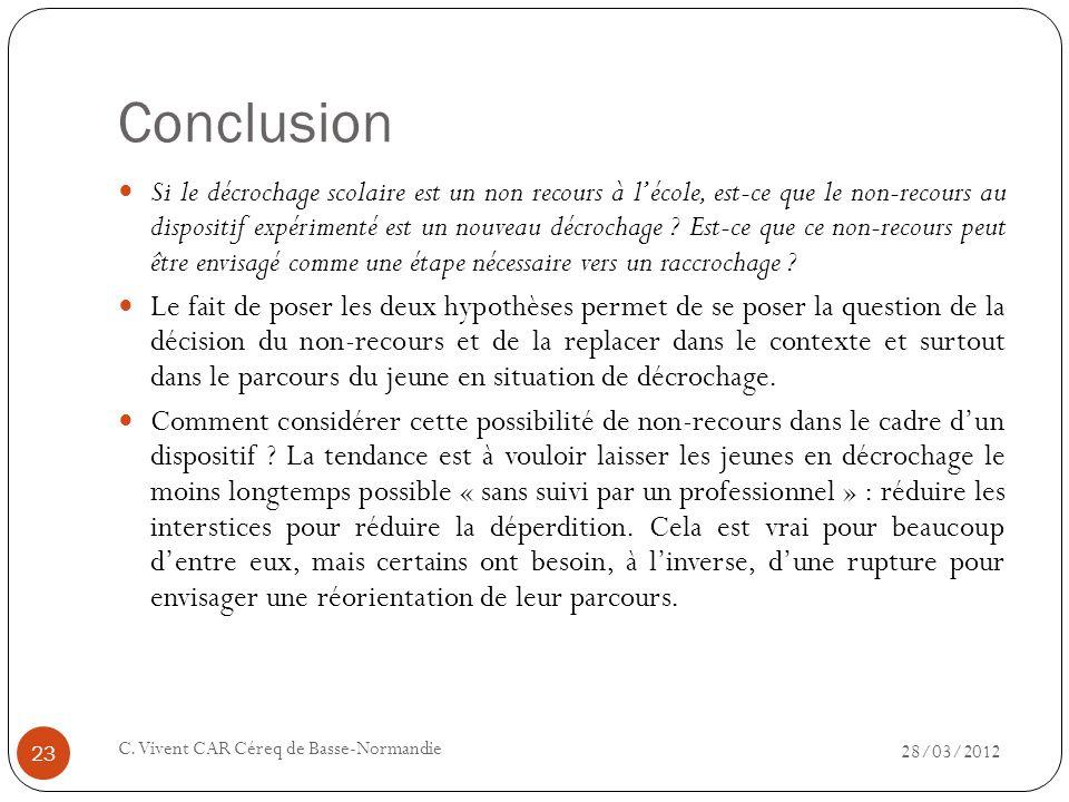 Conclusion 28/03/2012 C. Vivent CAR Céreq de Basse-Normandie 23 Si le décrochage scolaire est un non recours à lécole, est-ce que le non-recours au di