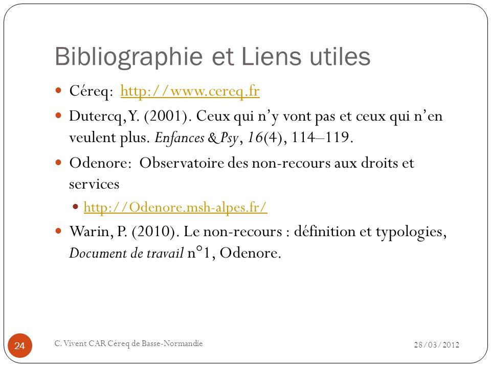 Bibliographie et Liens utiles 28/03/2012 C. Vivent CAR Céreq de Basse-Normandie 24 Céreq: http://www.cereq.frhttp://www.cereq.fr Dutercq, Y. (2001). C