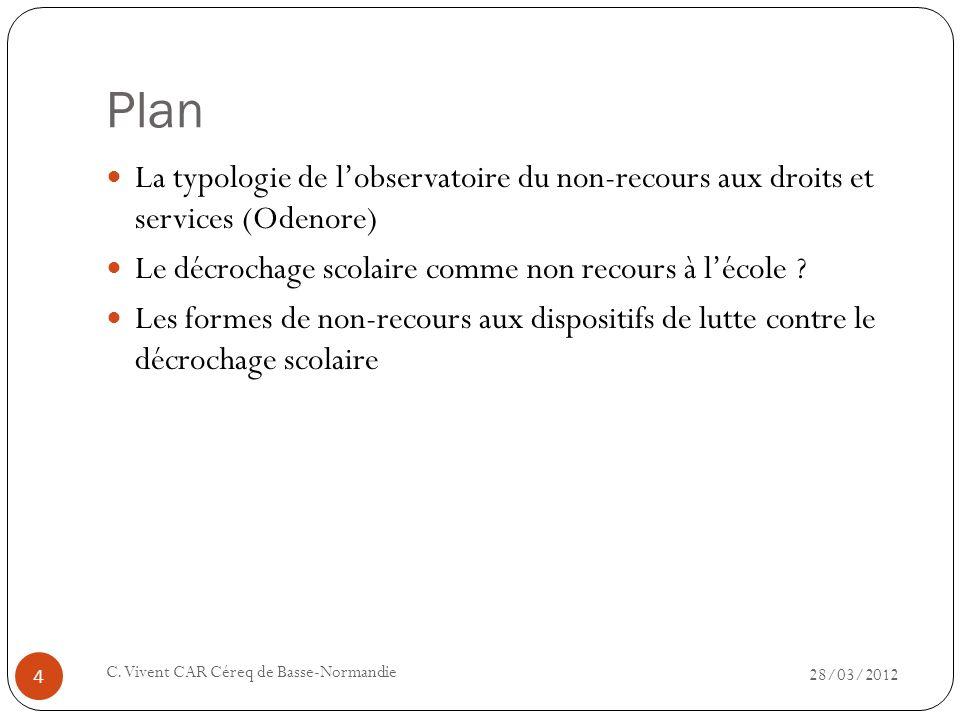 Plan 28/03/2012 C. Vivent CAR Céreq de Basse-Normandie 4 La typologie de lobservatoire du non-recours aux droits et services (Odenore) Le décrochage s