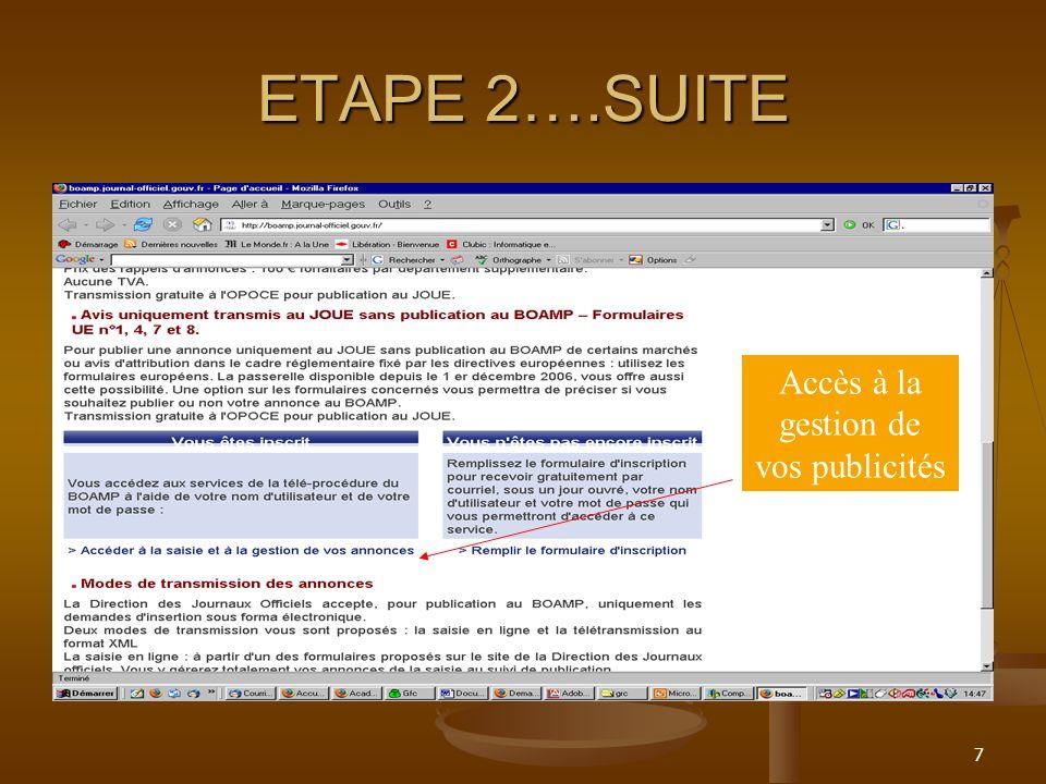 7 ETAPE 2….SUITE Accès à la gestion de vos publicités