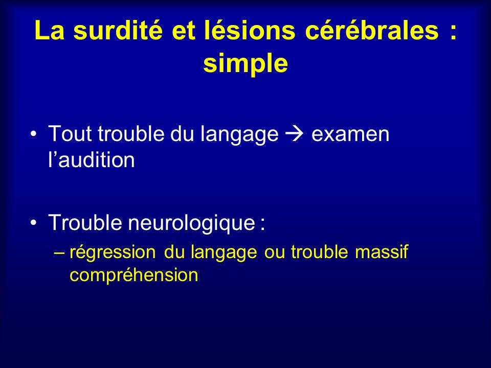 La surdité et lésions cérébrales : simple Tout trouble du langage examen laudition Trouble neurologique : –régression du langage ou trouble massif com