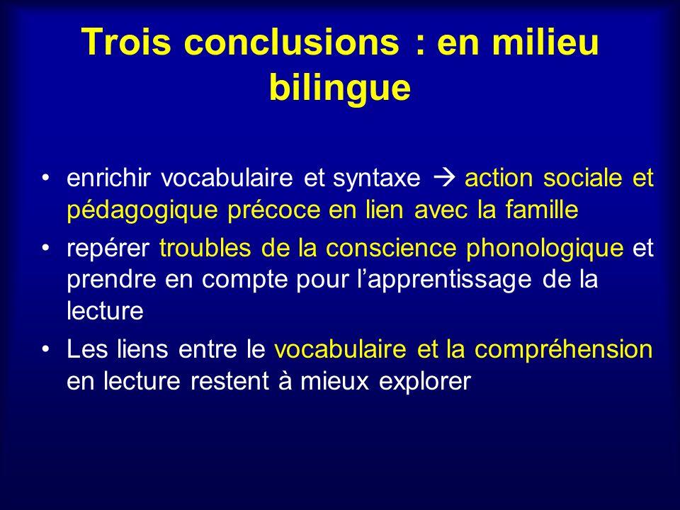 Trois conclusions : en milieu bilingue enrichir vocabulaire et syntaxe action sociale et pédagogique précoce en lien avec la famille repérer troubles