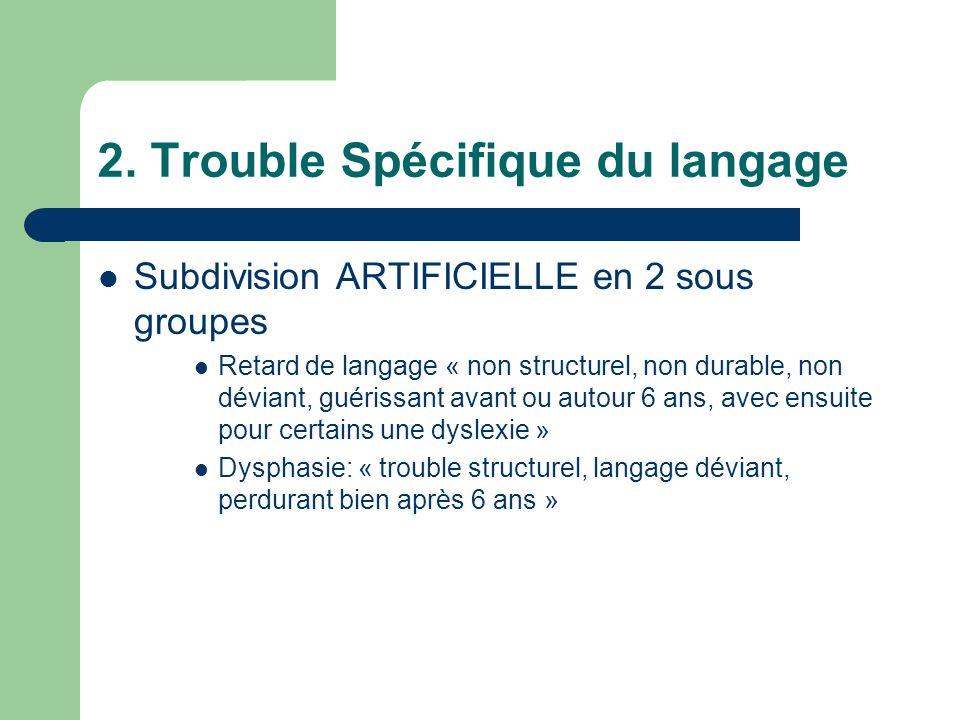 2. Trouble Spécifique du langage Subdivision ARTIFICIELLE en 2 sous groupes Retard de langage « non structurel, non durable, non déviant, guérissant a