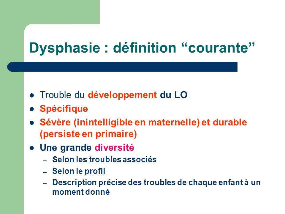 Dysphasie : définition courante Trouble du développement du LO Spécifique Sévère (inintelligible en maternelle) et durable (persiste en primaire) Une