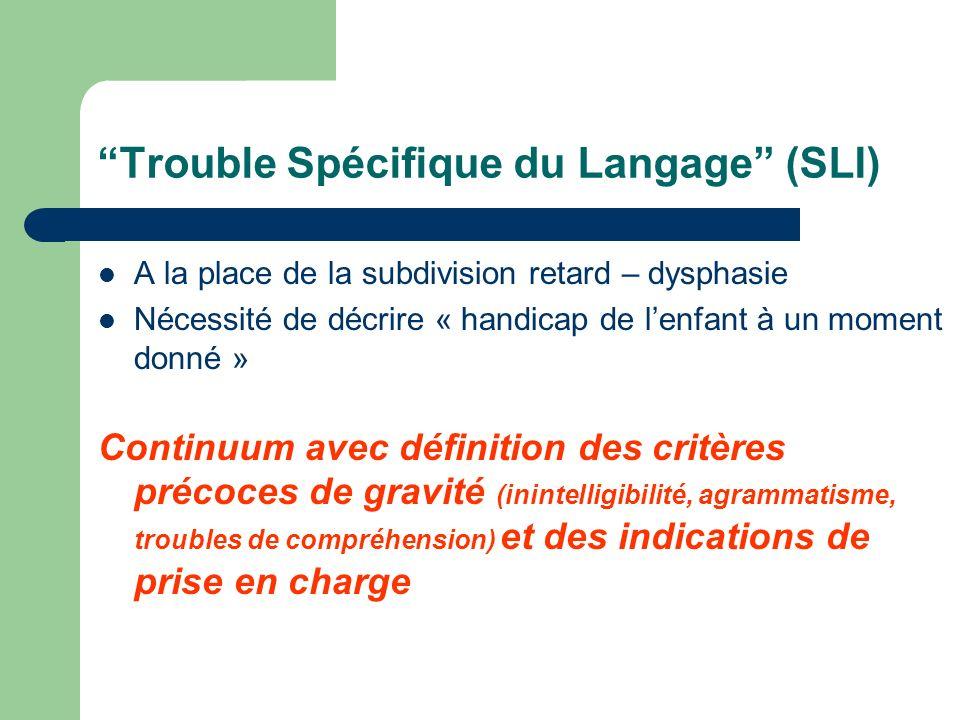 Trouble Spécifique du Langage (SLI) A la place de la subdivision retard – dysphasie Nécessité de décrire « handicap de lenfant à un moment donné » Con