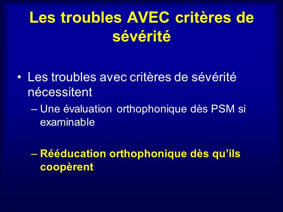 Les troubles AVEC critères de sévérité Les troubles avec critères de sévérité nécessitent –Une évaluation orthophonique dès PSM si examinable –Rééduca
