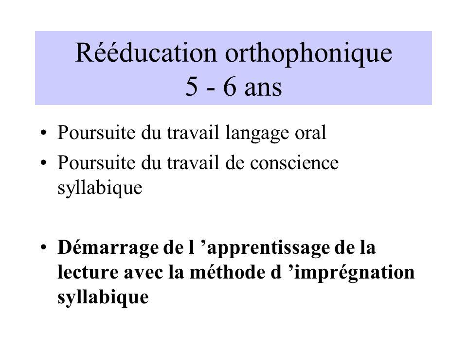 Rééducation orthophonique 5 - 6 ans Poursuite du travail langage oral Poursuite du travail de conscience syllabique Démarrage de l apprentissage de la