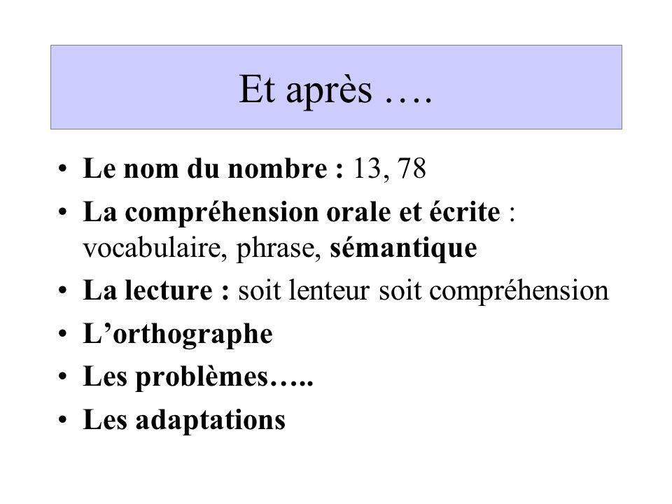 Et après …. Le nom du nombre : 13, 78 La compréhension orale et écrite : vocabulaire, phrase, sémantique La lecture : soit lenteur soit compréhension
