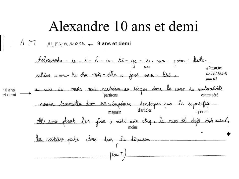 Alexandre 10 ans et demi : 9 ans et demi 10 ans et demi