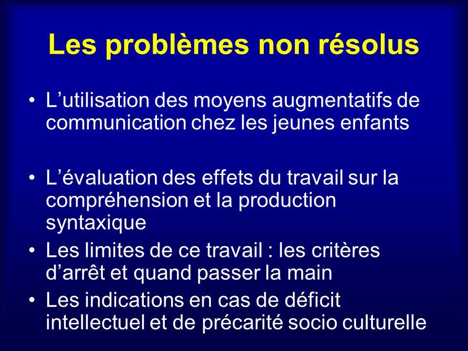Les problèmes non résolus Lutilisation des moyens augmentatifs de communication chez les jeunes enfants Lévaluation des effets du travail sur la compr