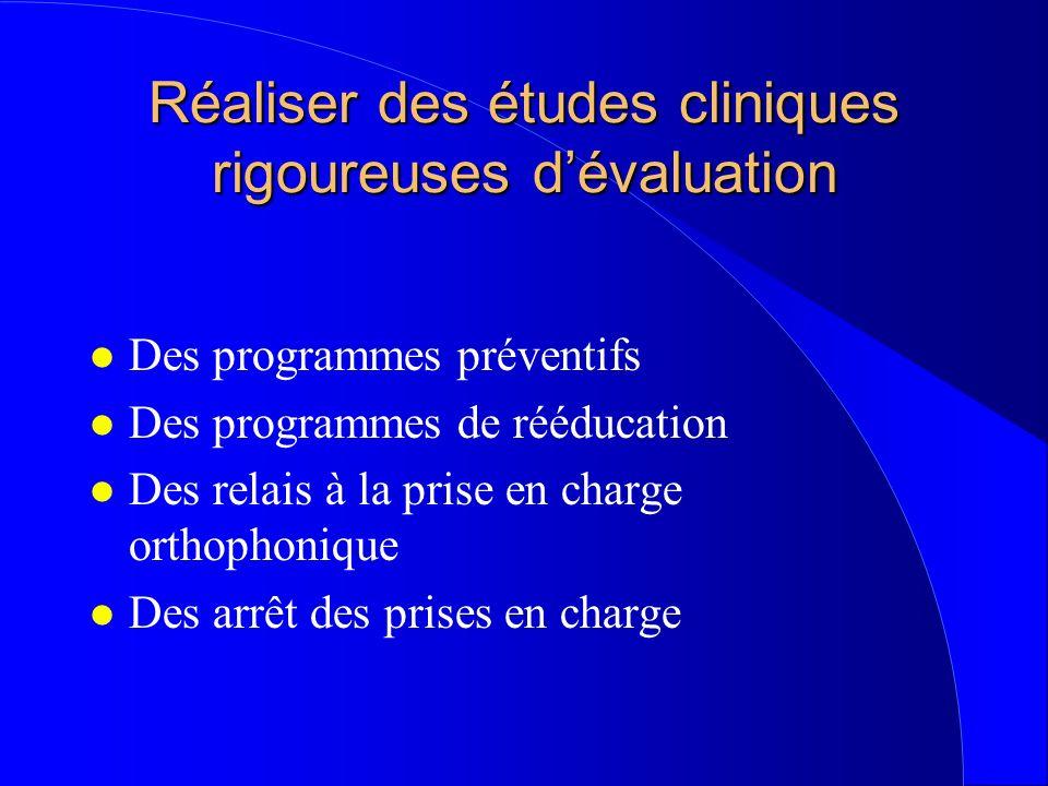 Réaliser des études cliniques rigoureuses dévaluation l Des programmes préventifs l Des programmes de rééducation l Des relais à la prise en charge or