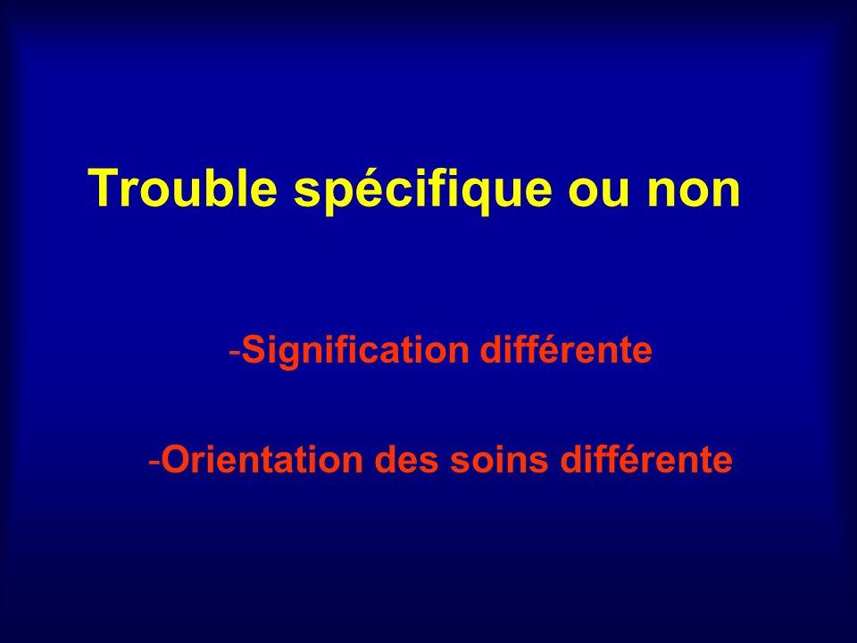 Trouble spécifique ou non -Signification différente -Orientation des soins différente