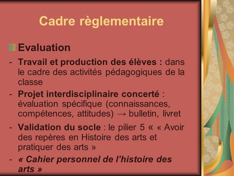 Cadre règlementaire Evaluation -Travail et production des élèves : dans le cadre des activités pédagogiques de la classe -Projet interdisciplinaire co