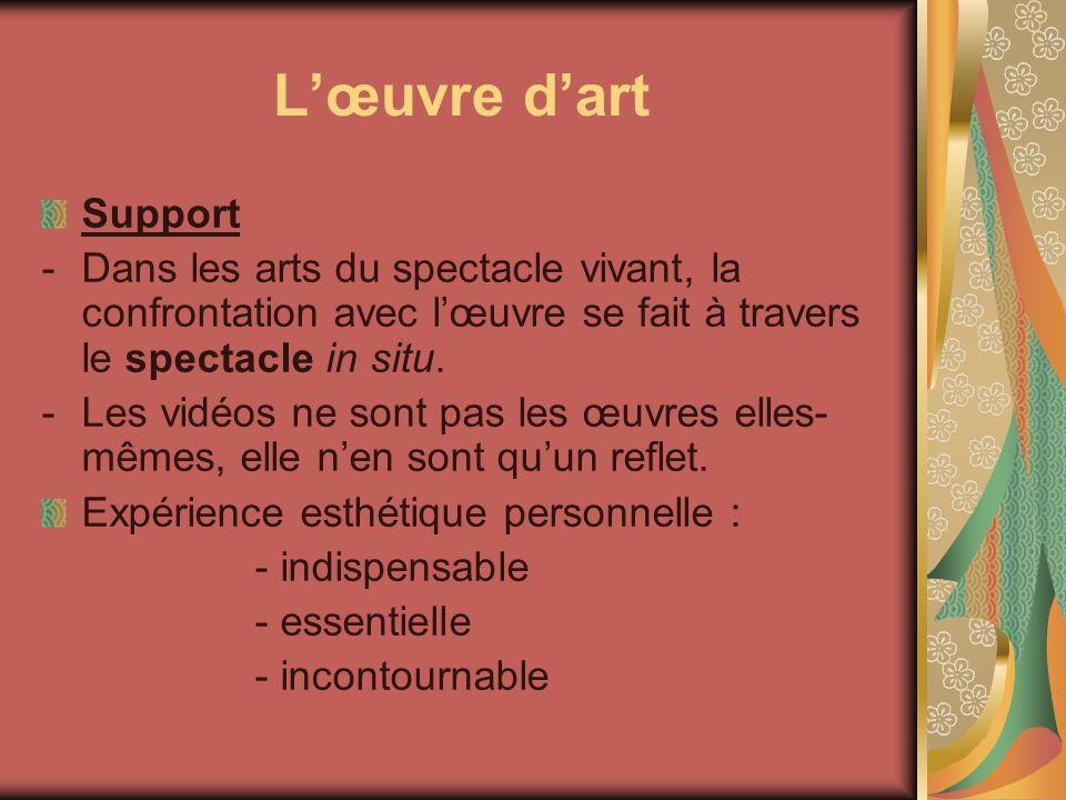 Lœuvre dart Support -Dans les arts du spectacle vivant, la confrontation avec lœuvre se fait à travers le spectacle in situ. -Les vidéos ne sont pas l