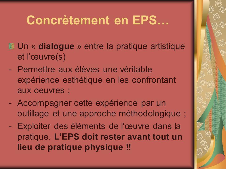 Concrètement en EPS… Un « dialogue » entre la pratique artistique et lœuvre(s) -Permettre aux élèves une véritable expérience esthétique en les confro