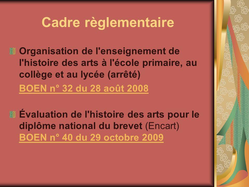 Cadre règlementaire Organisation de l'enseignement de l'histoire des arts à l'école primaire, au collège et au lycée (arrêté) BOEN n° 32 du 28 août 20