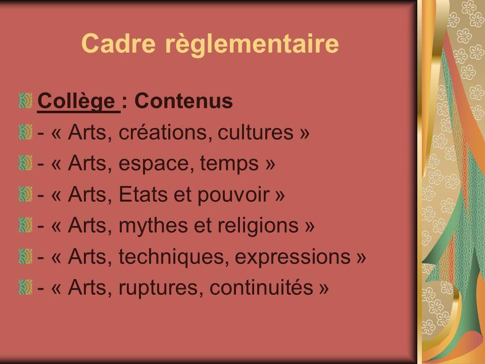 Cadre règlementaire Collège : Contenus - « Arts, créations, cultures » - « Arts, espace, temps » - « Arts, Etats et pouvoir » - « Arts, mythes et reli