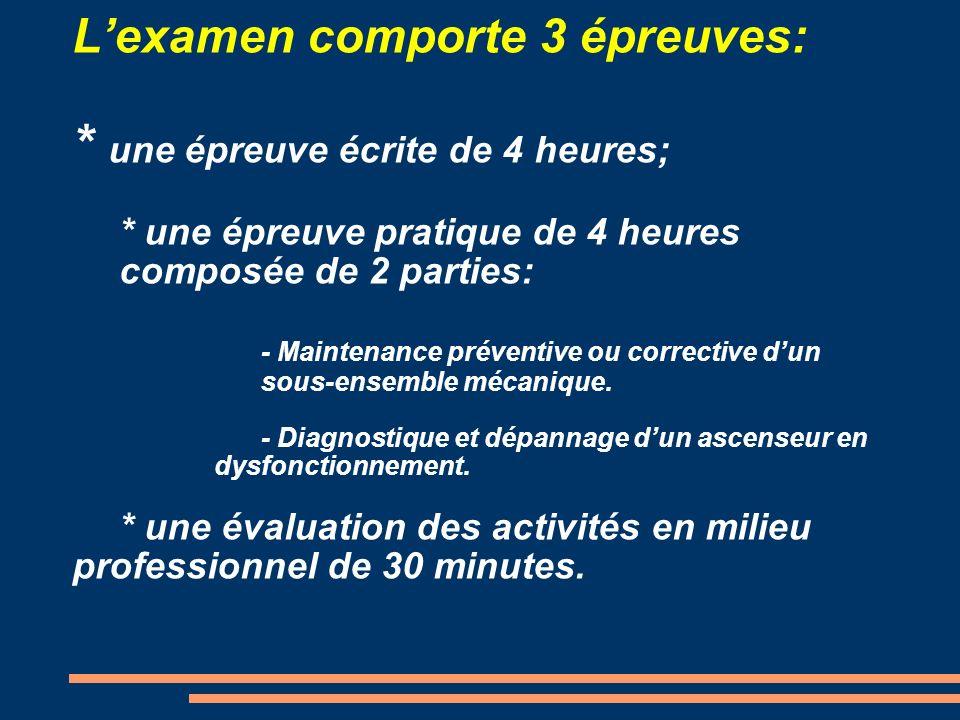 Lexamen comporte 3 épreuves: * une épreuve écrite de 4 heures; * une épreuve pratique de 4 heures composée de 2 parties: - Maintenance préventive ou c