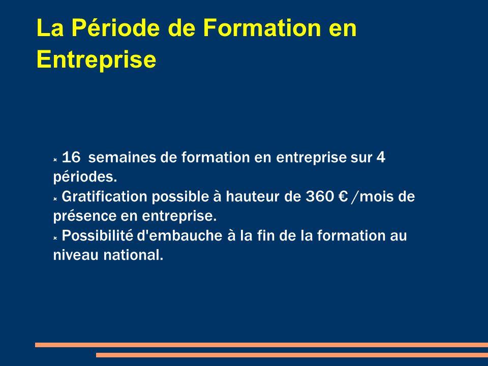La Période de Formation en Entreprise 16 semaines de formation en entreprise sur 4 périodes. Gratification possible à hauteur de 360 /mois de présence