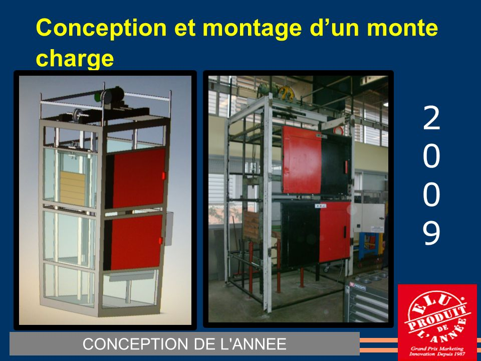 Conception et montage dun monte charge CONCEPTION DE L ANNEE 20092009