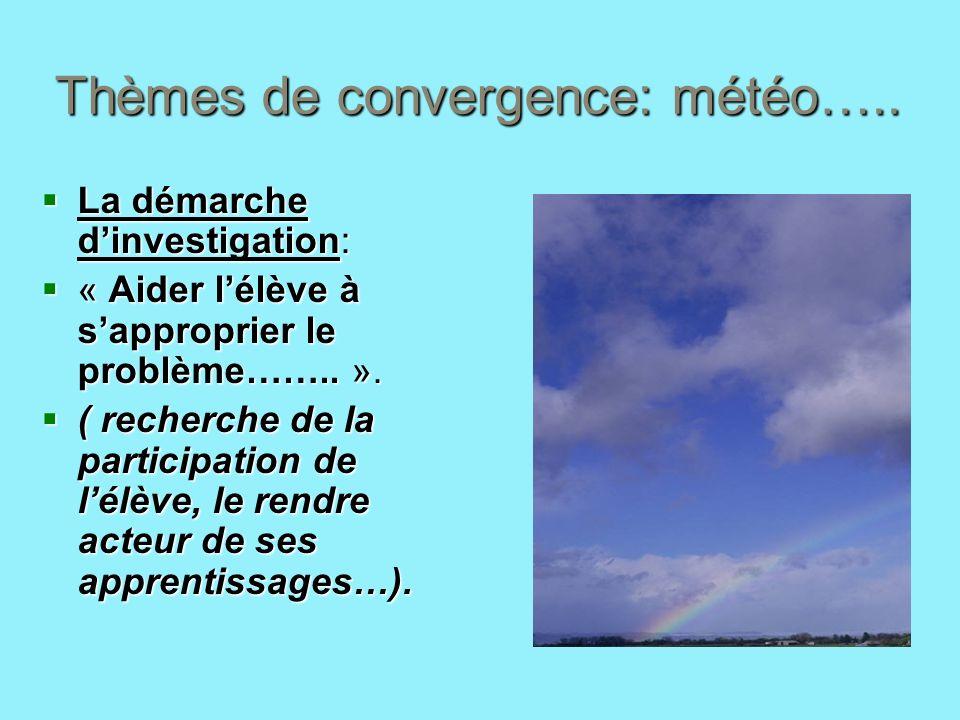 Thèmes de convergence: météo….. La démarche dinvestigation: La démarche dinvestigation: « Aider lélève à sapproprier le problème…….. ». « Aider lélève