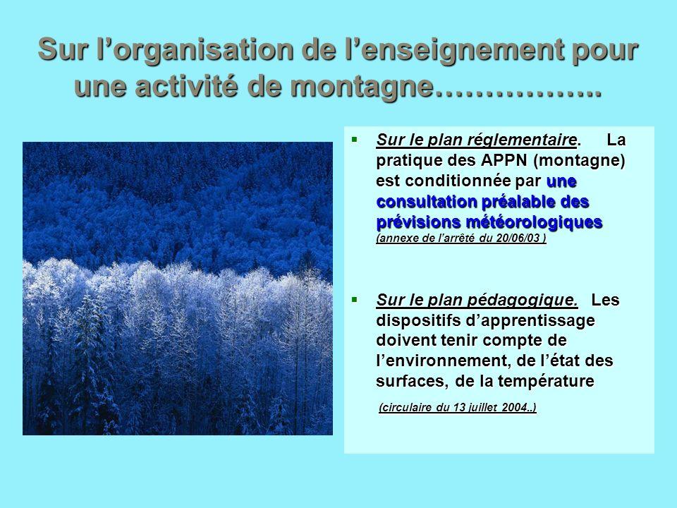 Sur lorganisation de lenseignement pour une activité de montagne…………….. Sur le plan réglementaire. La pratique des APPN (montagne) est conditionnée pa
