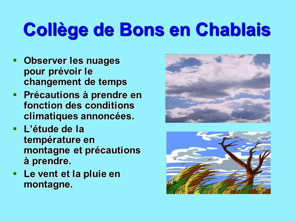 Collège de Bons en Chablais Observer les nuages pour prévoir le changement de temps Précautions à prendre en fonction des conditions climatiques annon