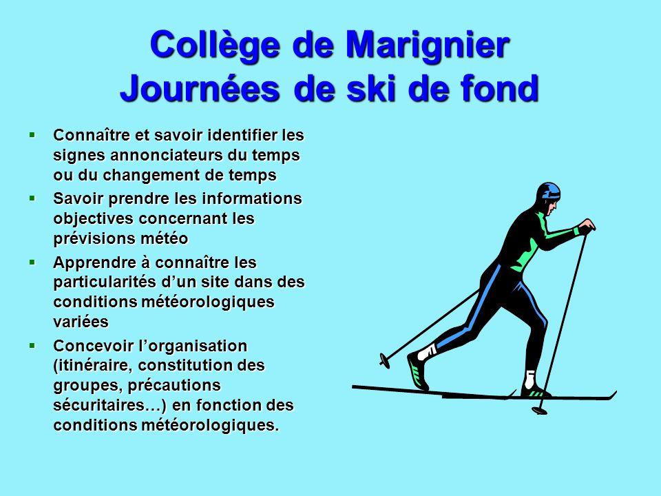 Collège de Marignier Journées de ski de fond Connaître et savoir identifier les signes annonciateurs du temps ou du changement de temps Connaître et s