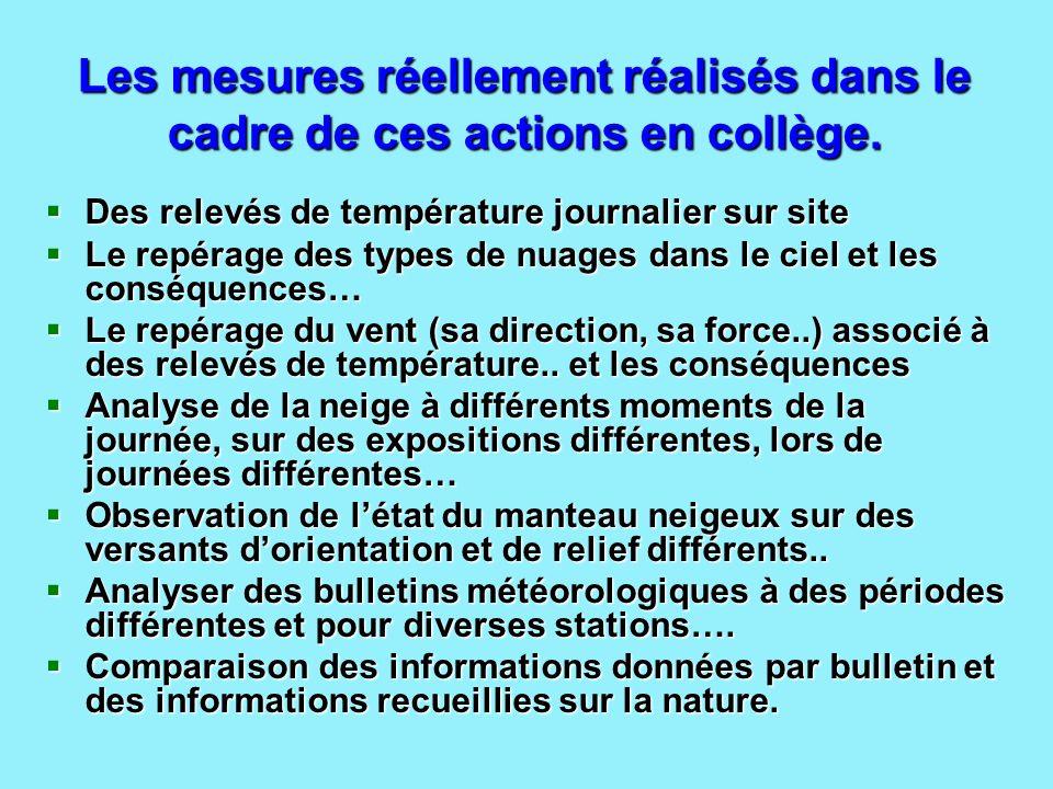 Les mesures réellement réalisés dans le cadre de ces actions en collège. Des relevés de température journalier sur site Des relevés de température jou