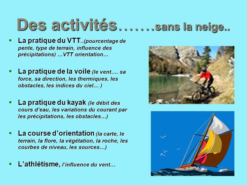 Des activités……. sans la neige.. La pratique du VTT..(pourcentage de pente, type de terrain, influence des précipitations) …VTT orientation… La pratiq